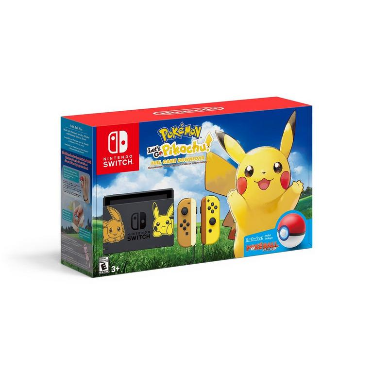 Nintendo Switch Pikachu and Eevee Edition with Pokemon: Let's Go, Pikachu! Bundle