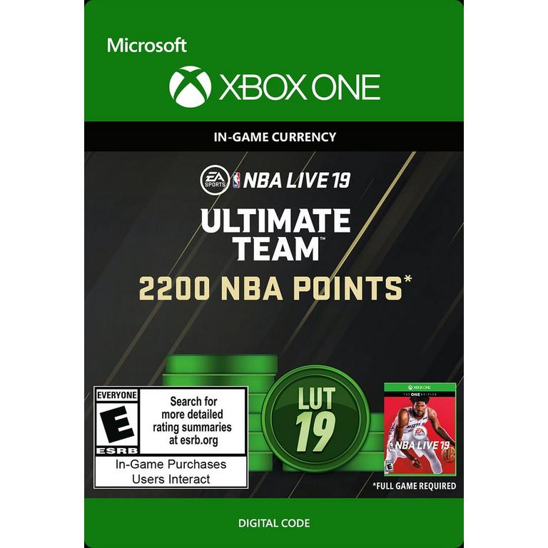 NBA Live 19 2200 Ultimate Team Points Digital Card