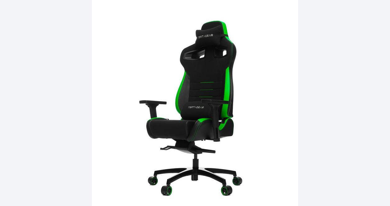 P-Line PL4500 Black and Green Racing Series Gaming Chair