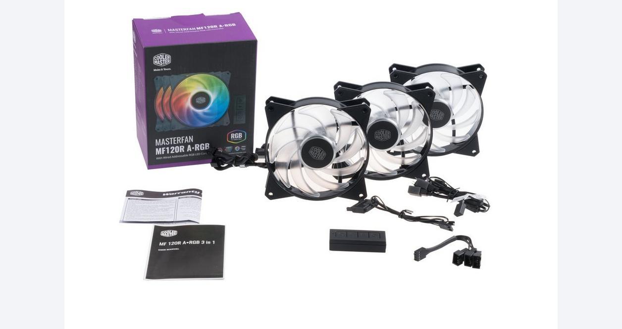 MasterFan MF120R ARGB Case Fan 120mm with ARGB Controller 3 Pack