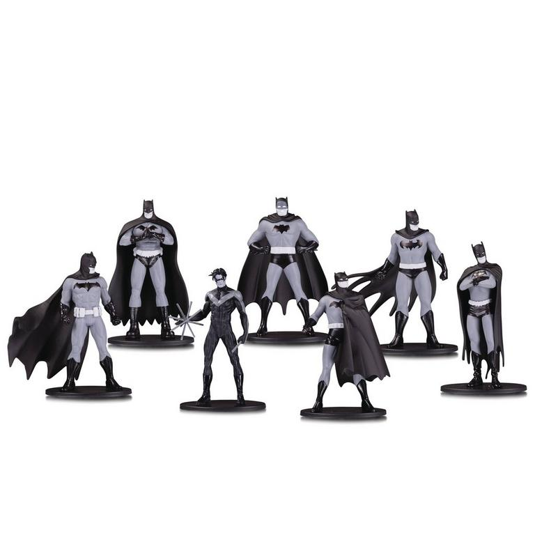Batman Black And White Mini Statue Set 7 Pack