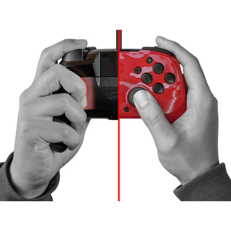 Nintendo Switch Red Camo Faceoff Deluxe Audio Wired Controller
