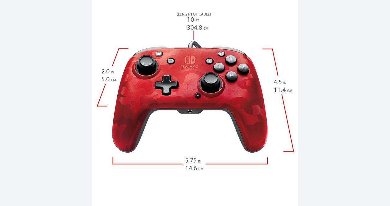 Red Camo Faceoff Deluxe Audio Wired Controller for Nintendo Switch