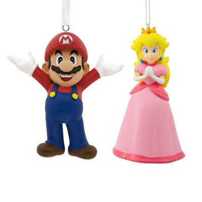 Mario and Princess Peach Ornament Set