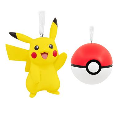 Pikachu and Pokeball Ornament Set