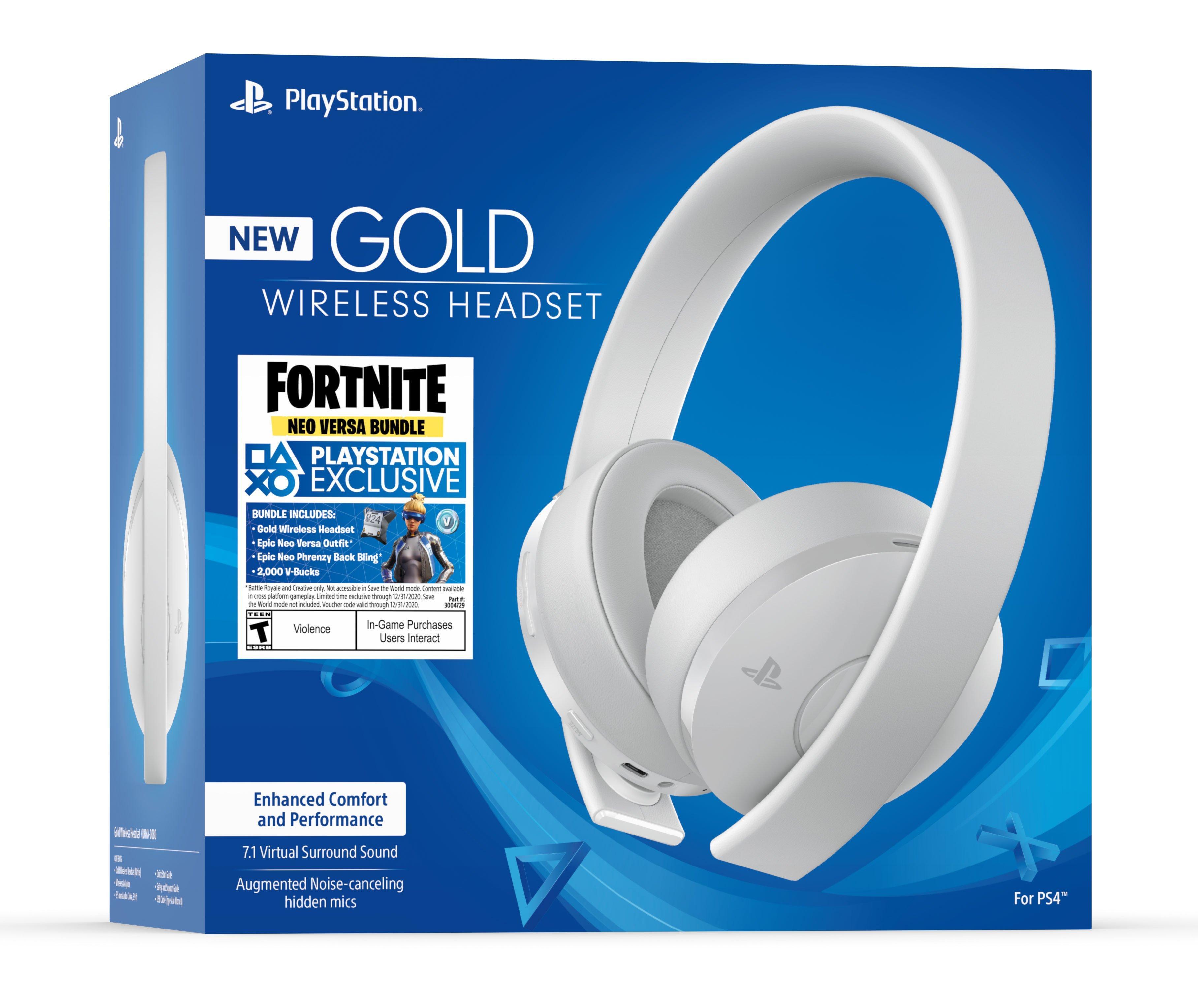 Playstation 4 Fortnite Neo Versa Bundle Gold Wireless Gaming Headset White Playstation 4 Gamestop