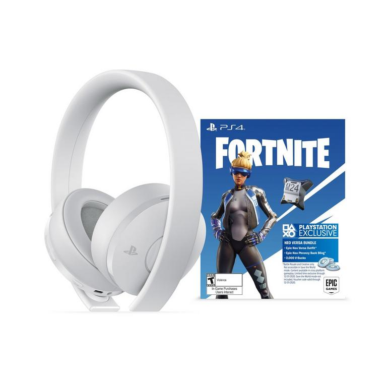 PlayStation 4 Fortnite Neo Versa Bundle Gold Wireless Gaming Headset White