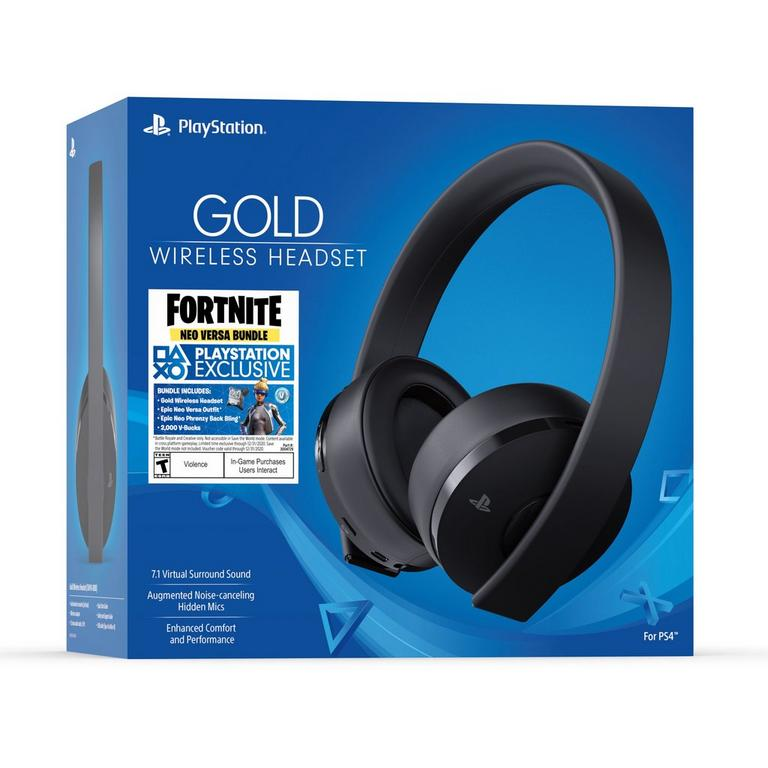 PlayStation 4 Fortnite Neo Versa Bundle Gold Wireless Gaming Headset Jet Black