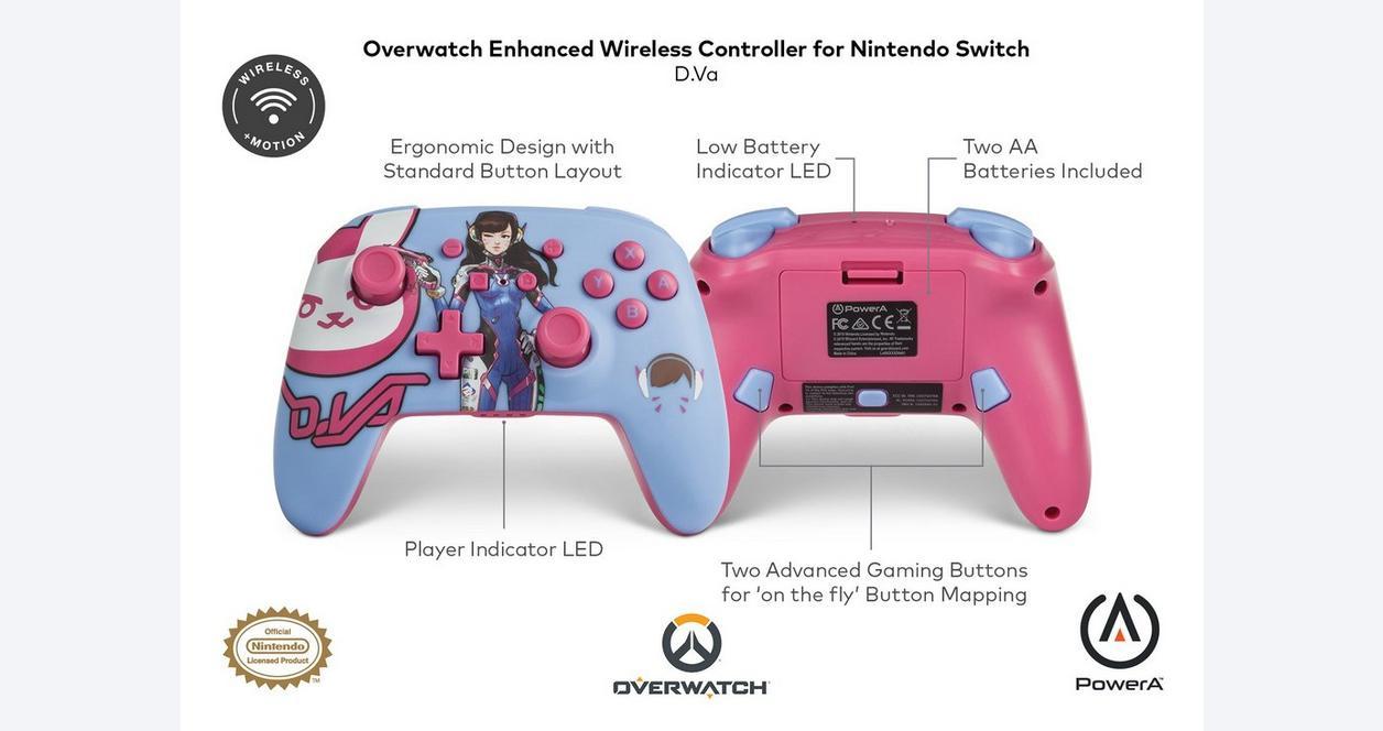 Overwatch D.Va Enhanced Wireless Controller for Nintendo Switch