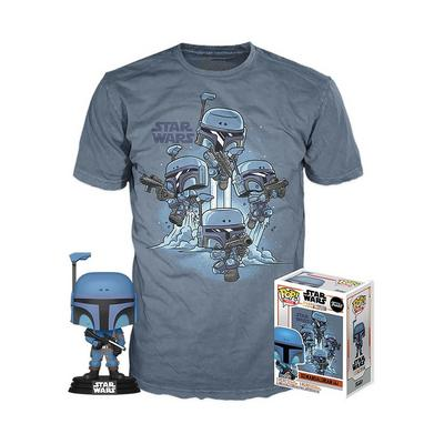 POP! and Tee: Star Wars: The Mandalorian Death Watch Mandalorian No Stripes T-Shirt Only at GameStop