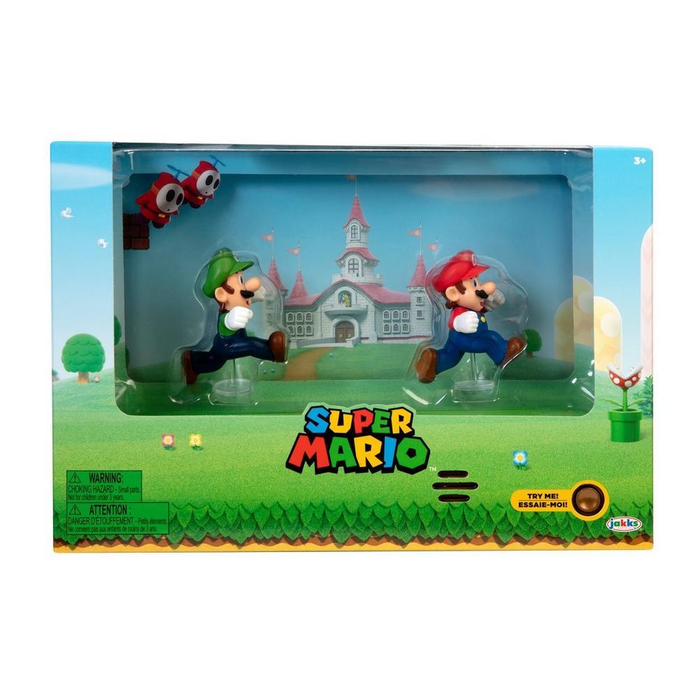 Super Mario Bros Mario And Luigi Figures With Interactive Background Summer Convention 2020 Gamestop