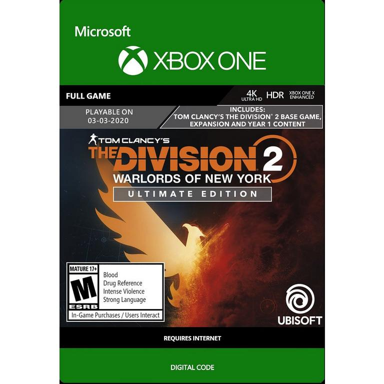 Ubisoft Digital Tom Clancy's The Division 2: Warlords of New York Ultimate Edition Bundle Xbox One Download Now At GameStop.com!