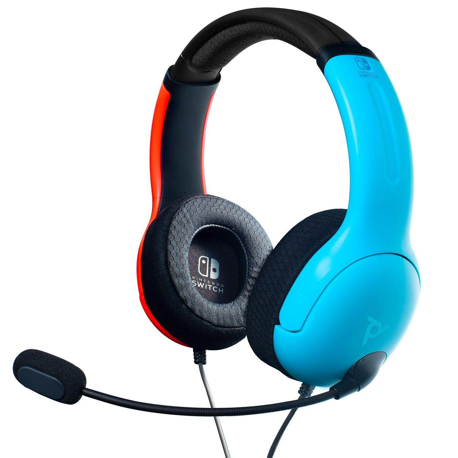 Lvl40 Neon Blue And Neon Red Wired Stereo Gaming Headset For Nintendo Switch Nintendo Switch Gamestop