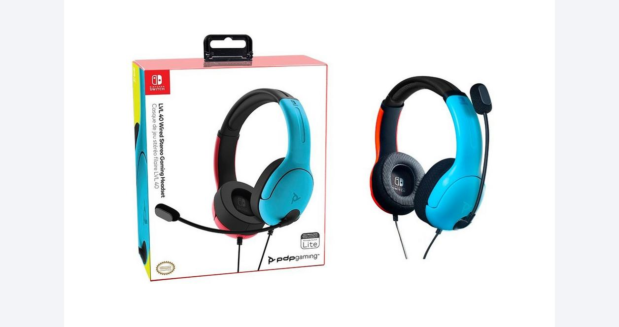 Nintendo Switch LVL40 Neon Blue and Neon Red Wired Stereo Gaming Headset