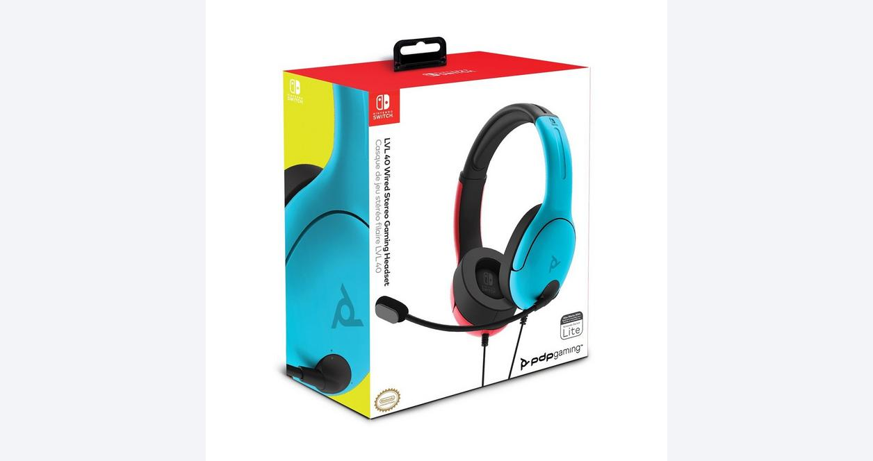 PDP Gaming LVL40 Wired Stereo Gaming Headset for Nintendo Switch Neon Blue and Neon Red