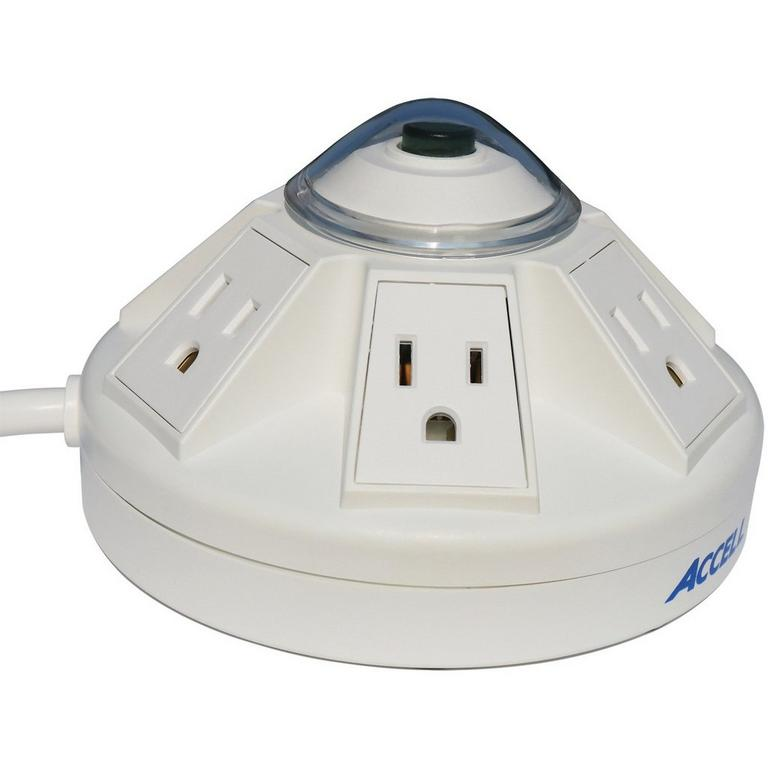 Powramid 6-Outlet Power Center with Surge Protection and USB White Charging Station