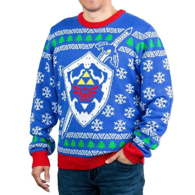 The Legend of Zelda Master Sword and Hylian Shield Holiday Sweater