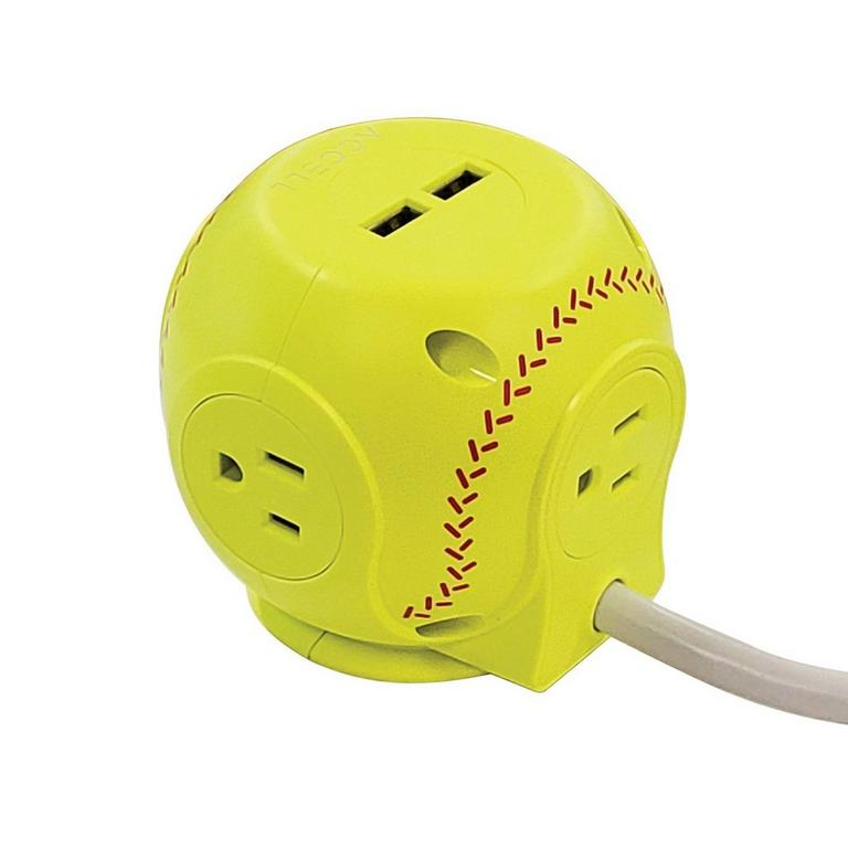 Power Cutie Softball Yellow Compact Surge Protector