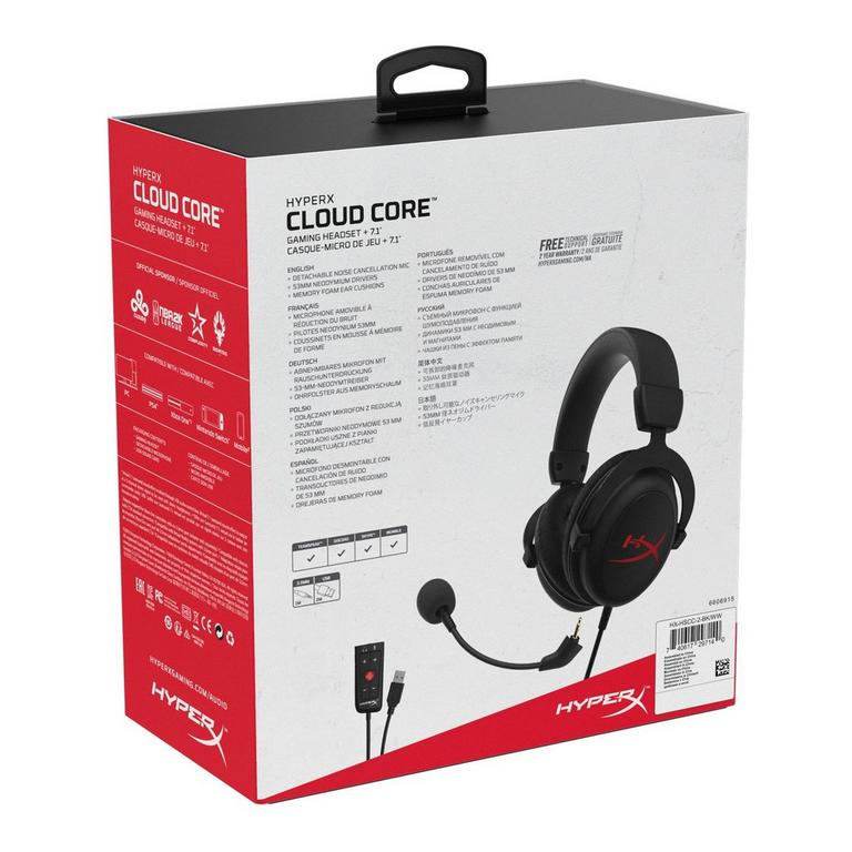 Cloud Core 7.1 Black Wired Gaming Headset