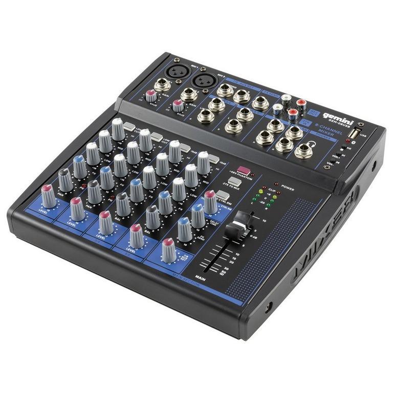GEM-08USB Compact 8-Channel Bluetooth Audio Mixer
