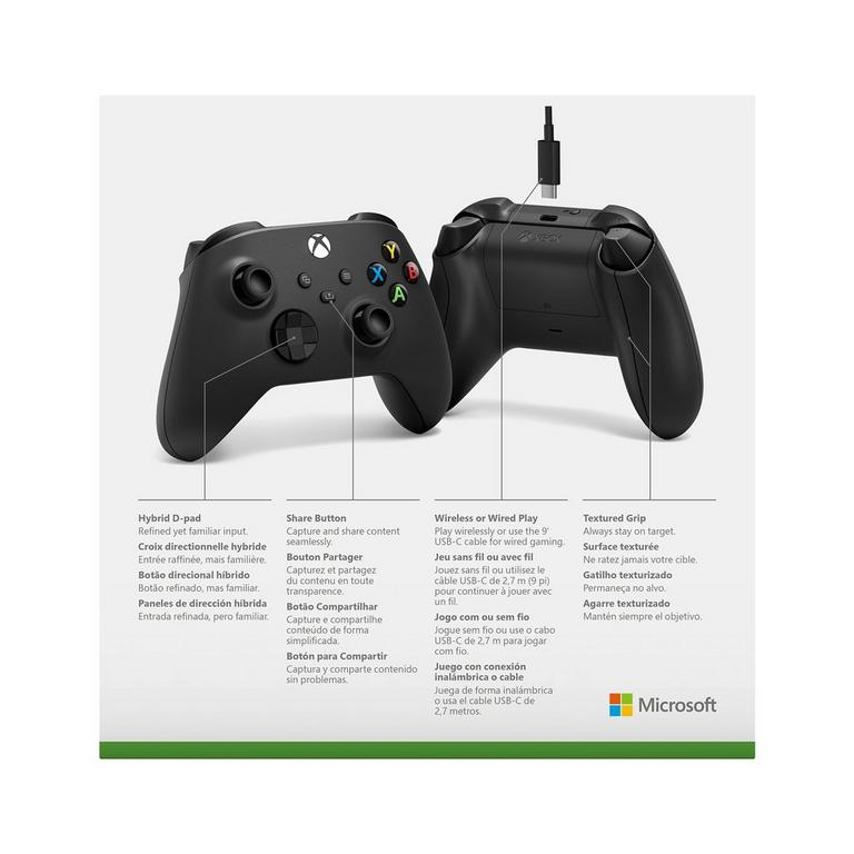 Microsoft Xbox Series X Black Wireless Controller with USB-C Cable