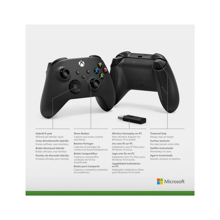 Microsoft Xbox Series X Black Wireless Controller with Wireless Adapter for Windows 10