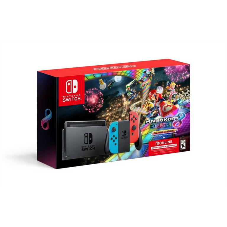 Nintendo Switch with Neon Joy-Con, Mario Kart 8 Deluxe, and Nintendo Online 3 Month System Bundle