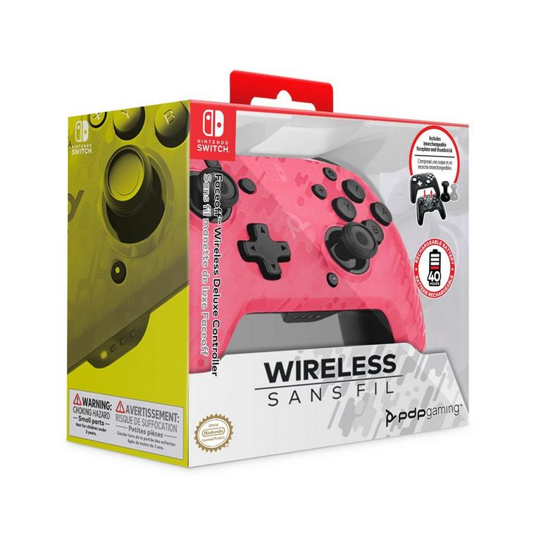 Faceoff Pink Camo Wireless Deluxe Controller for Nintendo Switch