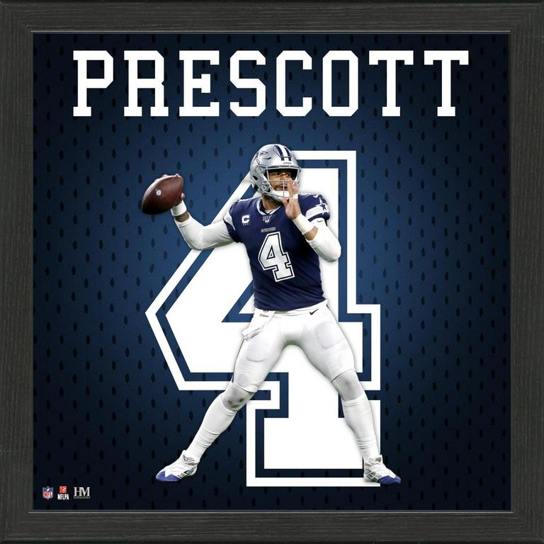 Dallas Cowboys Dak Prescott Jersey Number Framed Photo
