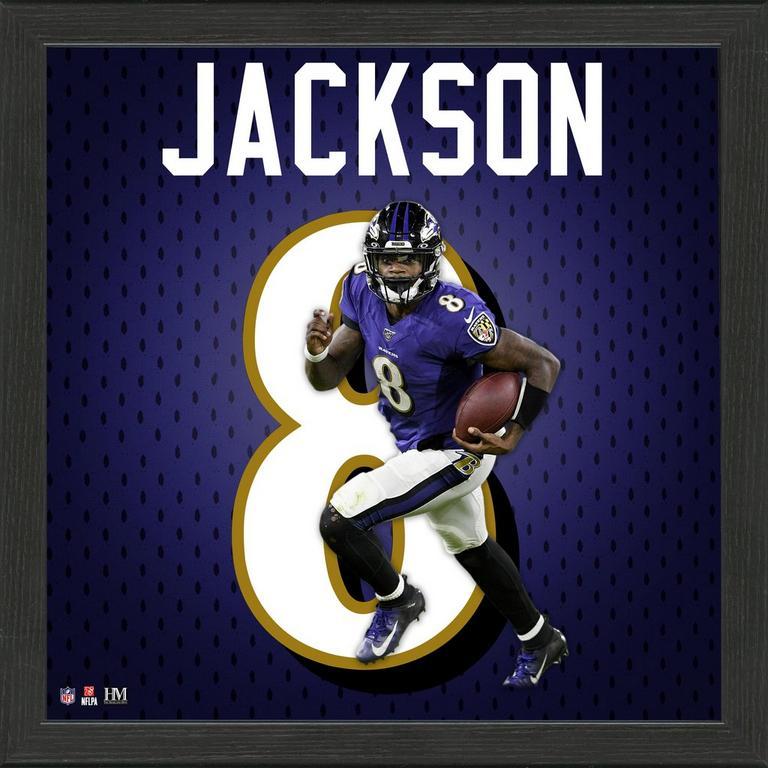 Baltimore Ravens Lamar Jackson Jersey Number Framed Photo