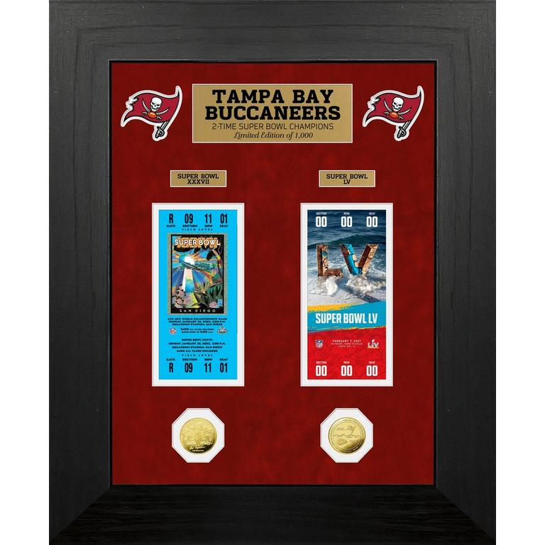NFL Tampa Bay Buccaneers Super Bowl LV 2 Time Champions Deluxe Ticket Collection with Gold Coin Mint