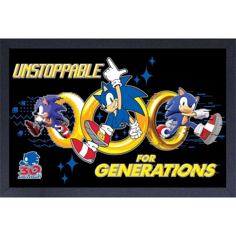 Sonic the Hedgehog 30th Anniversary Unstoppable for Generations Framed Picture
