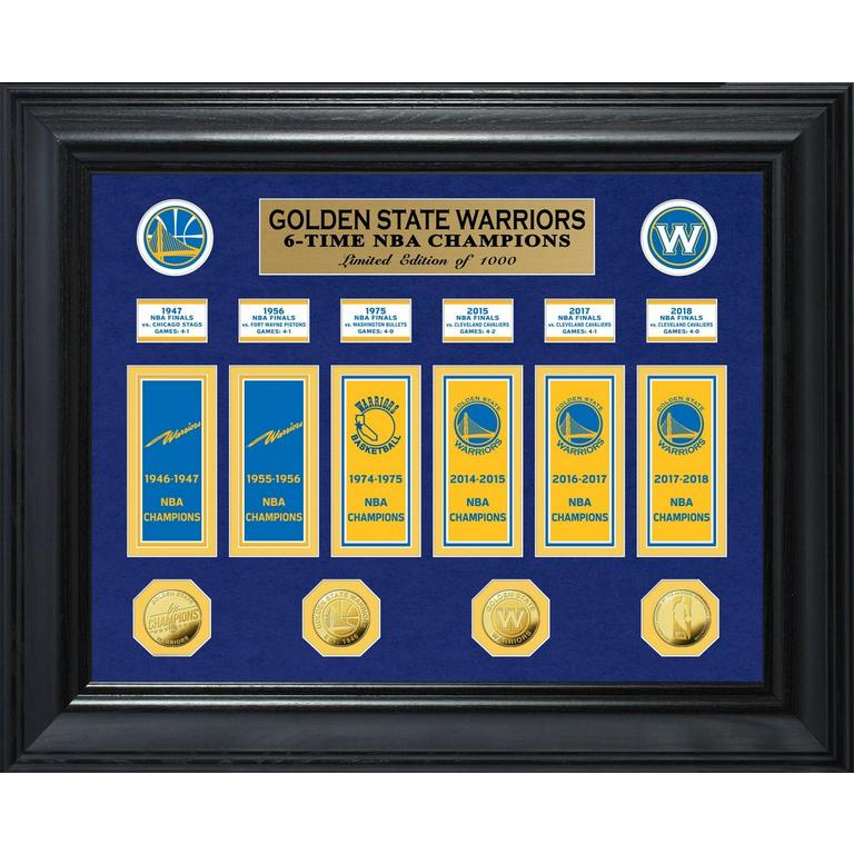 NBA Golden State Warriors 6 Time World Champions Deluxe Banner and Gold Coin Mint Collection