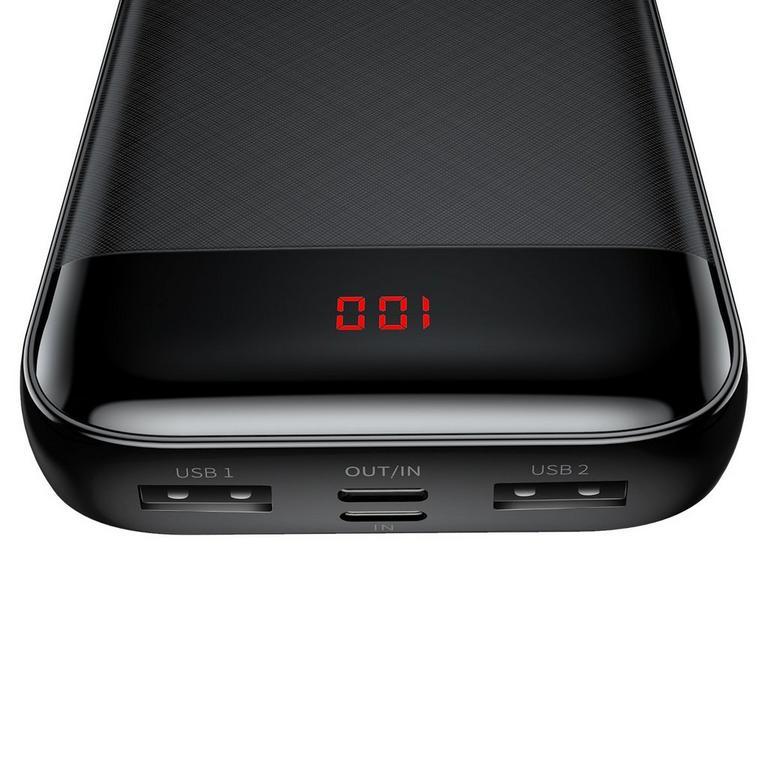 Mini Digital Display Black Power Bank 20000 mAh