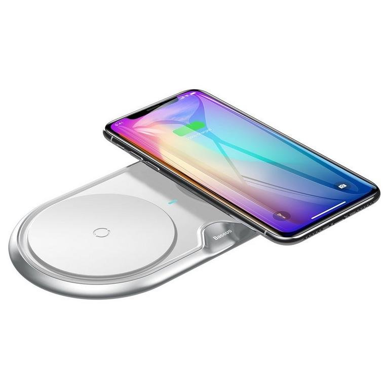 Silver Dual Wireless Charging Pad