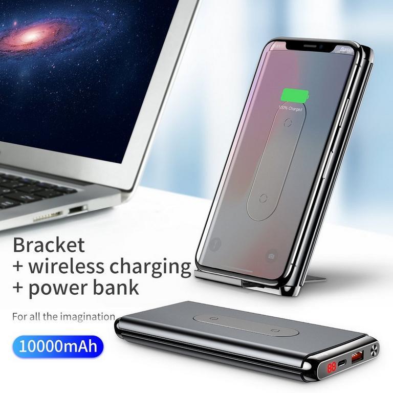 Black Wireless Power Bank 10000 mAh
