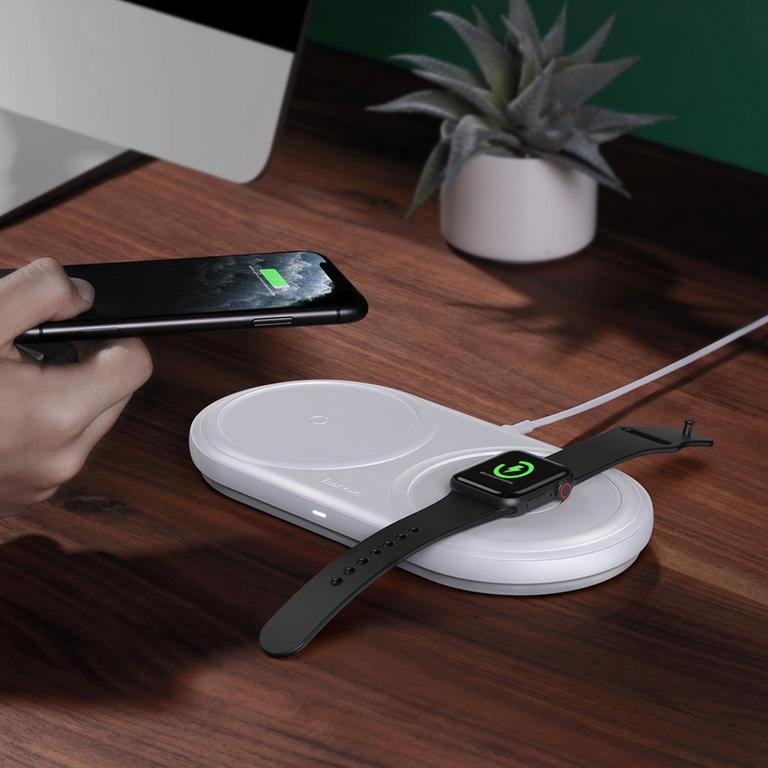Planet 2-in-1 White Cable Winder and Wireless Charging Pad