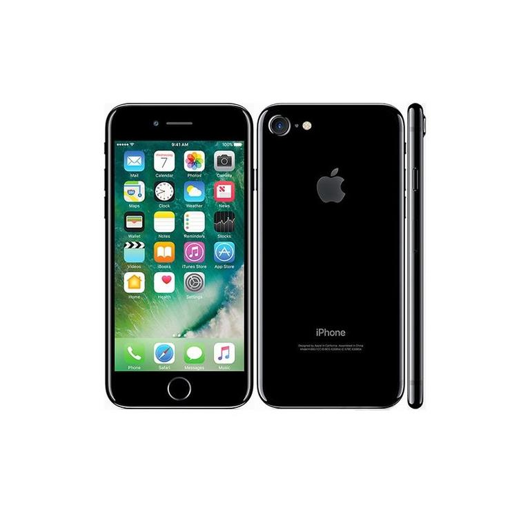 Apple iPhone 7 RFB Black Phone and Page Plus Prepaid 3 Month $55 Unlimited Plan Bundle
