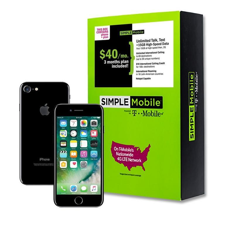 Apple iPhone 7 RFB Black Phone and Simple Mobile Prepaid 3 Month $40 Unlimited Plan Bundle