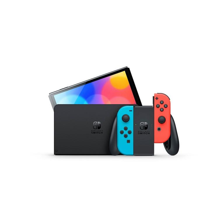 Nintendo Switch OLED with Blue and Red Joy-Con