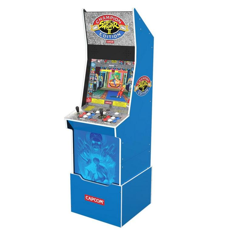 Street Fighter II Champion Edition Big Blue Arcade Cabinet with Riser