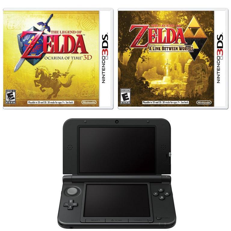 3DS XL Black (2014 Version) Legend of Zelda Fan Blast from the Past System Bundle