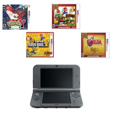 New 3DS XL - Black (2014 Version) Top Titles Blast from the Past System Bundle (GameStop Premium Refurbished)