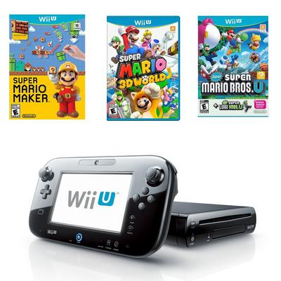 Nintendo Wii U 32 GB Super Mario Collection Blast from the Past Preowned System Bundle