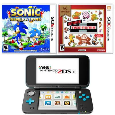 Nintendo 2DS XL Throwback Blast from the Past GameStop Premium Refurbished System Bundle