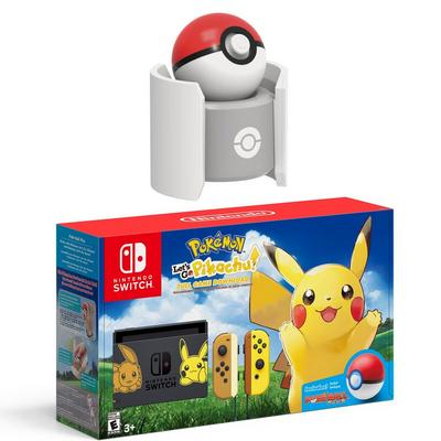 Nintendo Switch Pokemon Let's Go: Pikachu! System and Pokeball Plus Charger Bundle