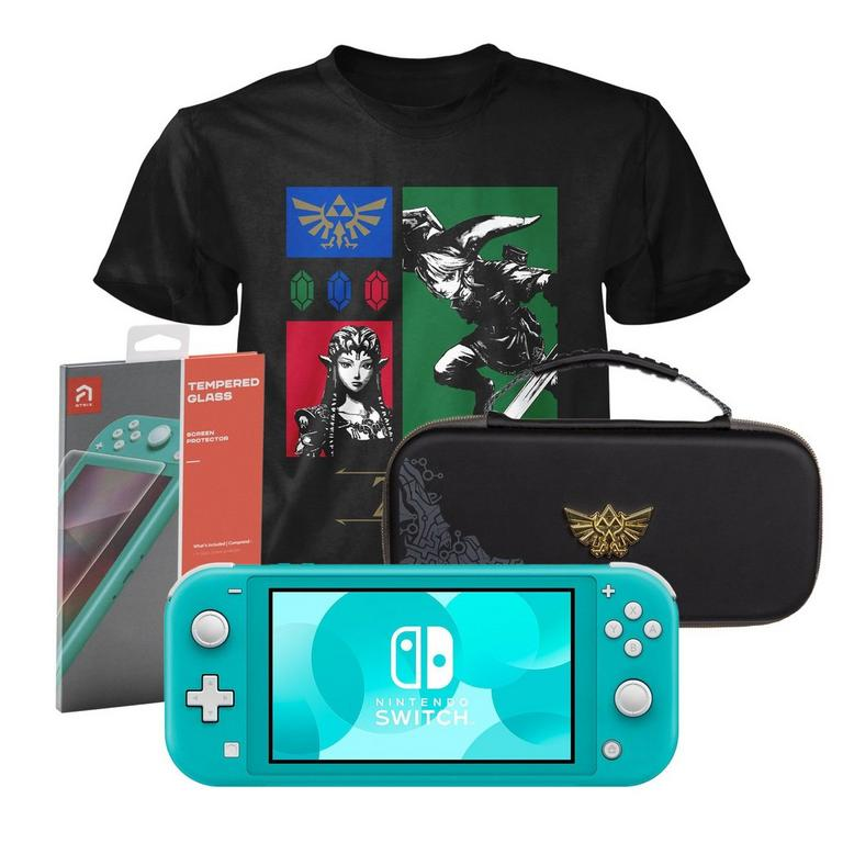 Nintendo Switch Lite Turquoise Zelda Fan Starter System Bundle
