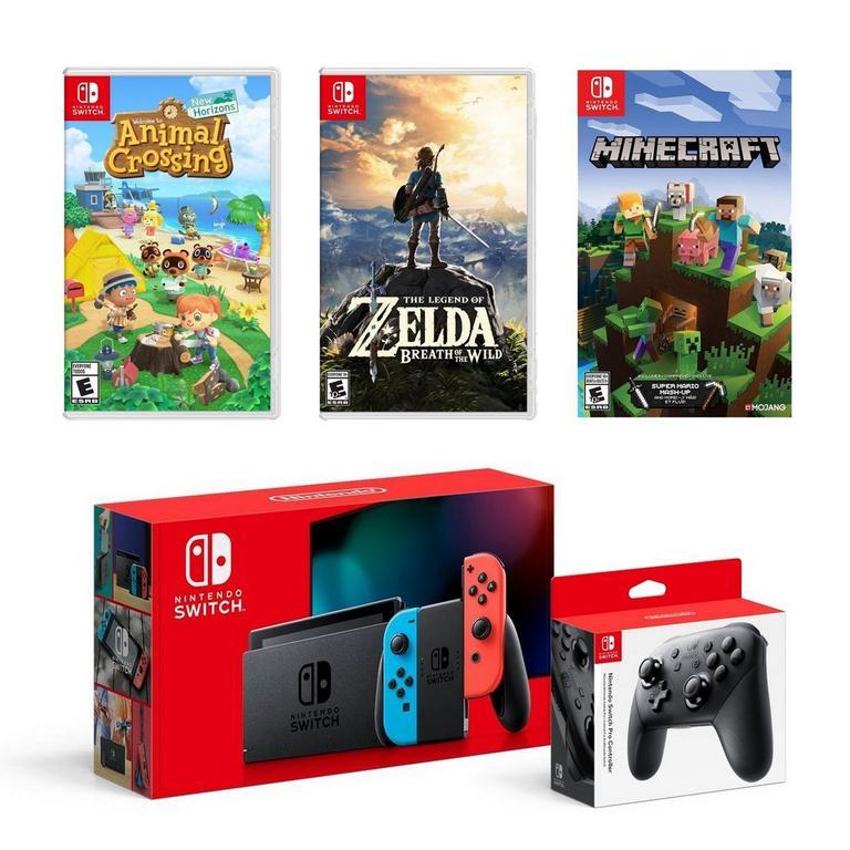 Nintendo Switch with Neon Joy Cons Gamer Bundle
