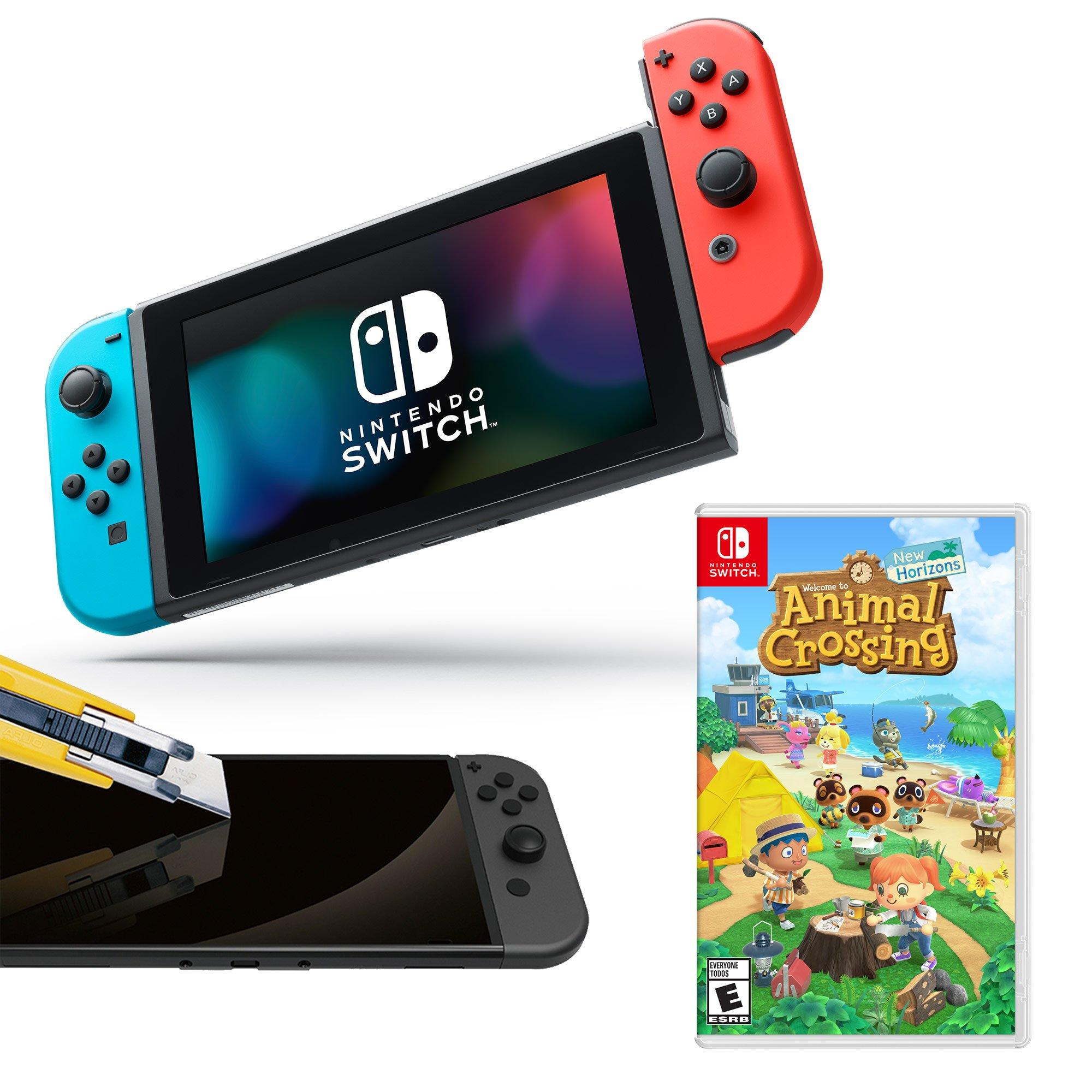 Nintendo Switch Neon Joy Con With Screen Protector And Animal