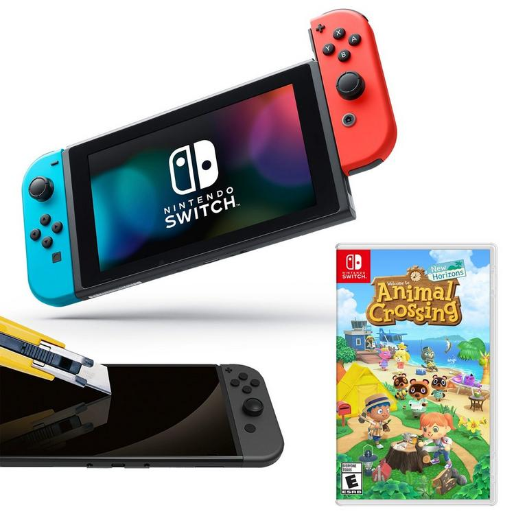 Nintendo Switch Neon Joy-Con with Screen Protector and Animal Crossing: New Horizons System Bundle